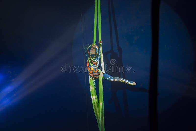 Kvinnaakrobatcirkusen utför på rep royaltyfri bild
