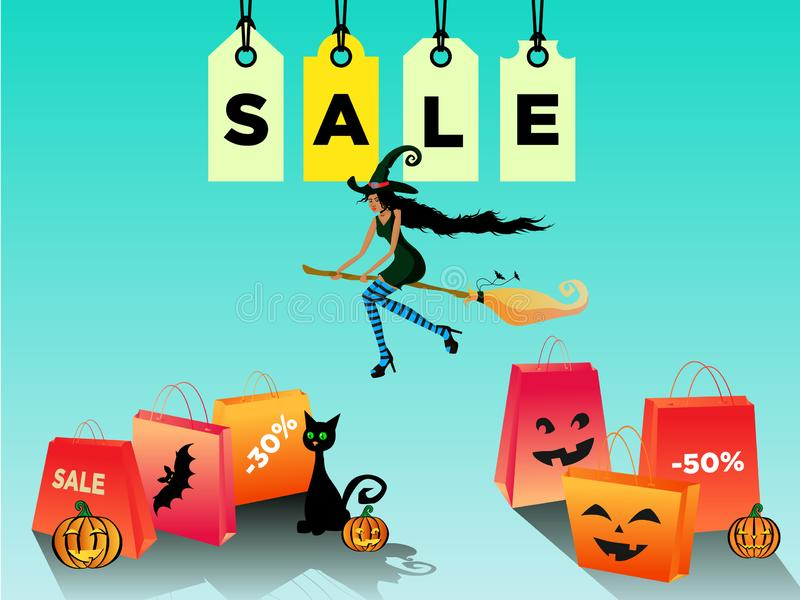 Kvinnaallhelgonaaftonförsäljning, rabatt med ett härligt blackskinhäxaflyg på en kvastskaft f?r illustrationsk?ld f?r 10 eps vekt vektor illustrationer
