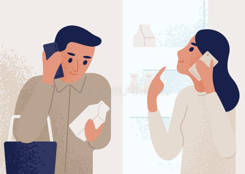 Kvinnaanseende nära det öppnade kylskåpet och samtal på mobiltelefonen till manshopping för livsmedel meddelande par royaltyfri illustrationer