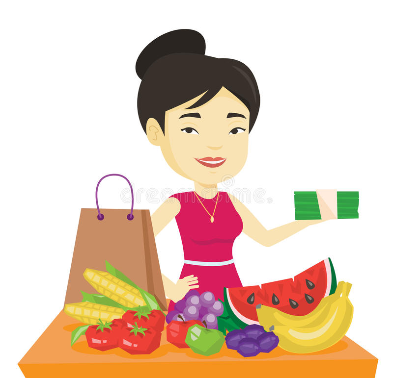 Kvinnaanseende på tabellen med shoppingpåsen royaltyfri illustrationer
