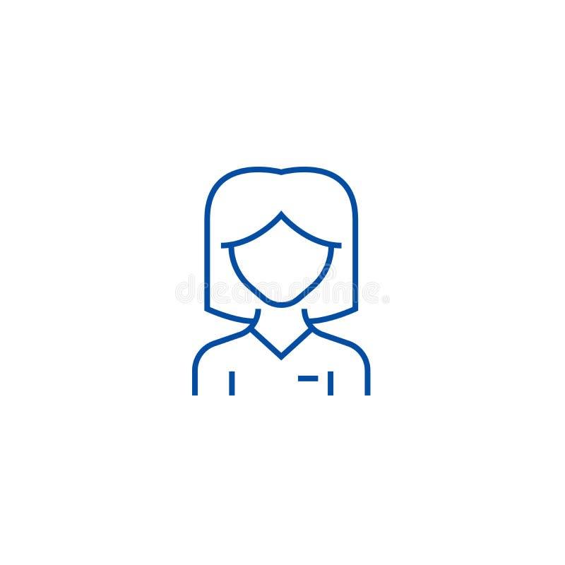 Kvinnaanvändarelinje symbolsbegrepp Symbol för vektor för kvinnaanvändare plant, tecken, översiktsillustration vektor illustrationer