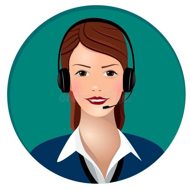 Kvinnaappelloperatör med hörlurar royaltyfri illustrationer