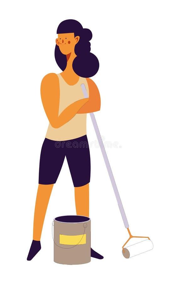 Kvinnaarbetare i process av att reparera rum av folk royaltyfri illustrationer