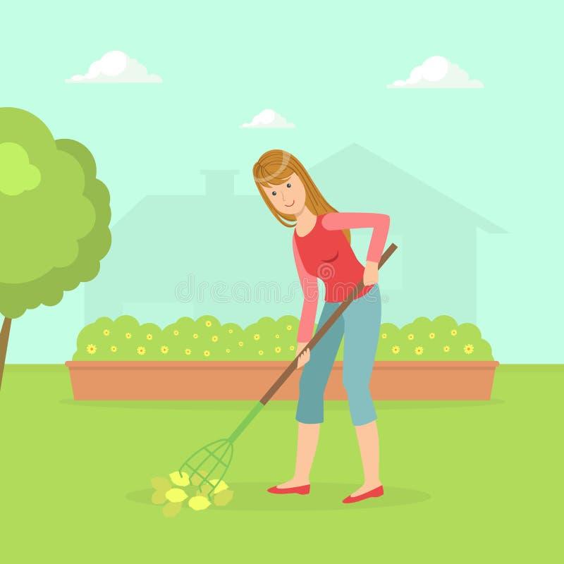 Kvinnaarbete i trädgård med krattar, hemmafrun Cleaning Backyard With som arbeta i trädgården hjälpmedelvektorillustrationen vektor illustrationer