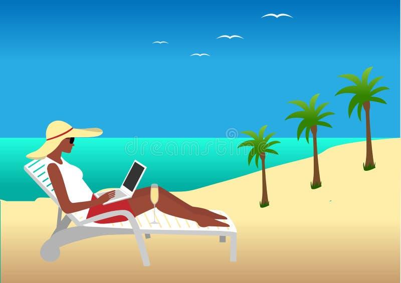 Kvinnaarbete på stranden royaltyfri illustrationer