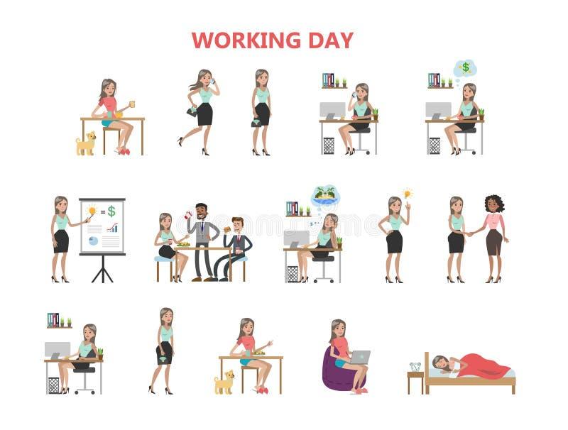 Kvinnaarbetsdags royaltyfri illustrationer