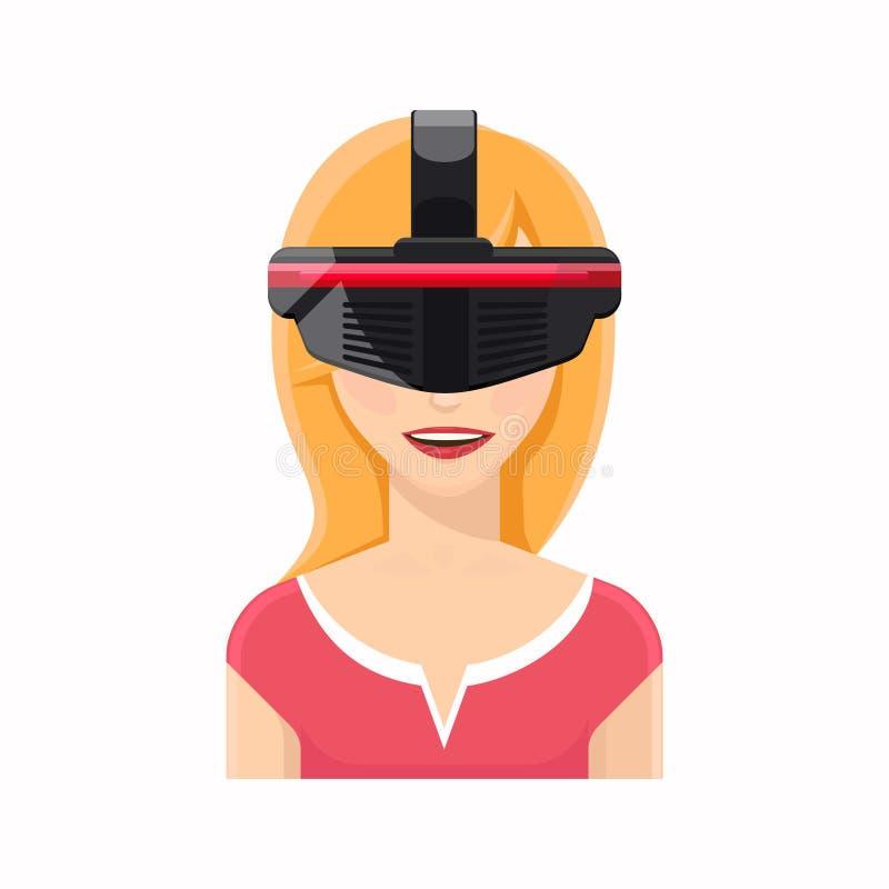 Kvinnaavatar i virtuell verklighetexponeringsglas vektor illustrationer