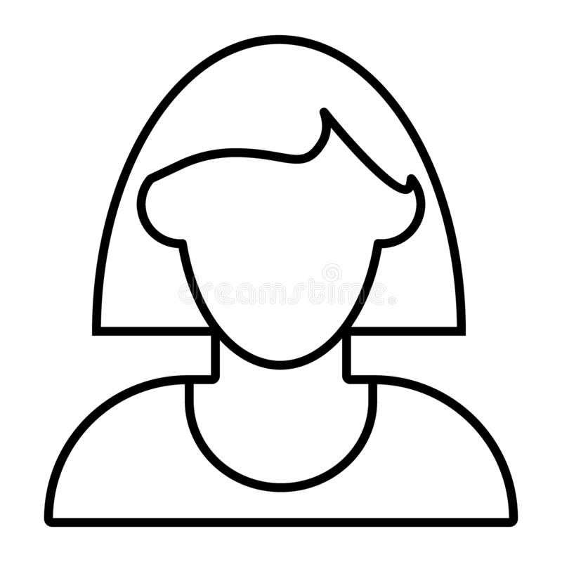 Kvinnaavatar med den tunna linjen symbol för kort hår Kvinna med illustrationen för vektor för skuldralängdhår som isoleras på vi royaltyfri illustrationer