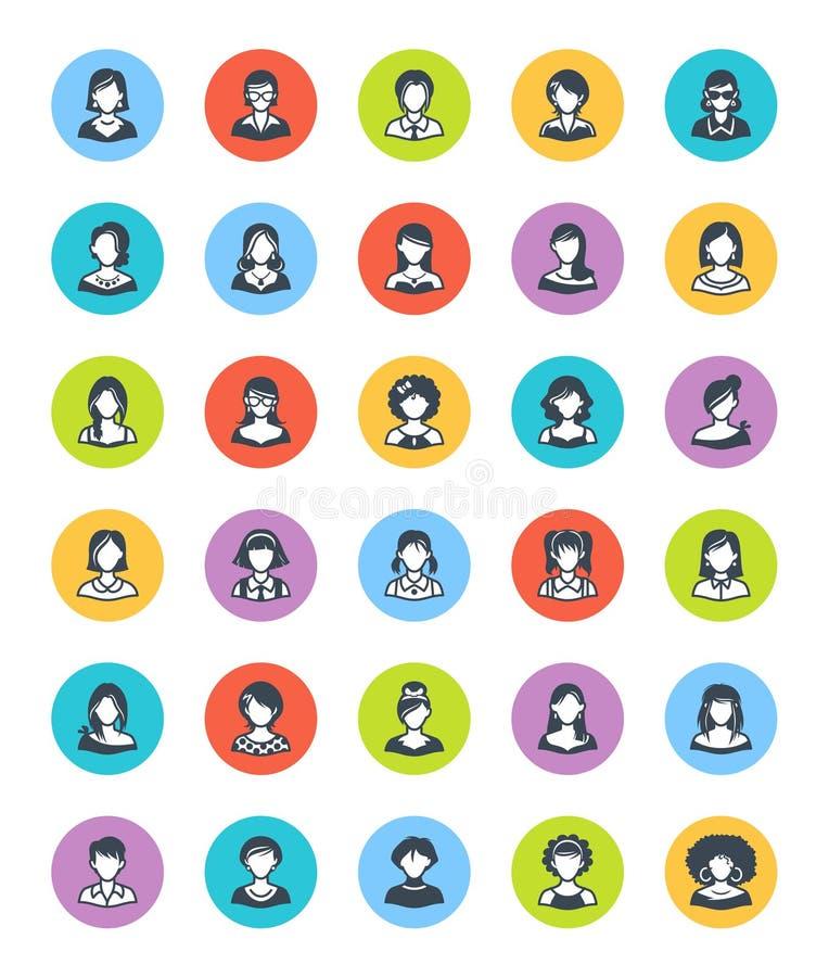 KvinnaAvatarssymboler - Dot Version vektor illustrationer