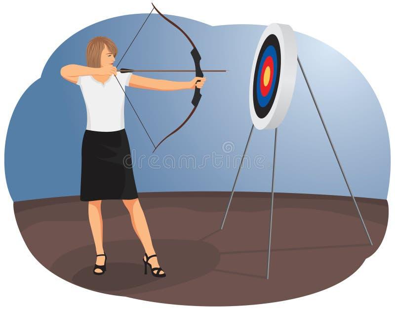 Kvinnabågskytt stock illustrationer