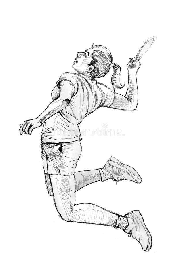Kvinnabadmintonspelare stock illustrationer