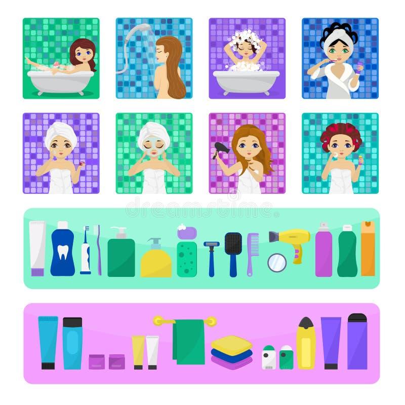 Kvinnabadning i tvagning för tecken för flicka för badrumvektor härlig i badillustrationuppsättning av kvinnor med skincarekräm vektor illustrationer