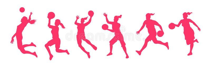 Kvinnabasketspelare vektor illustrationer