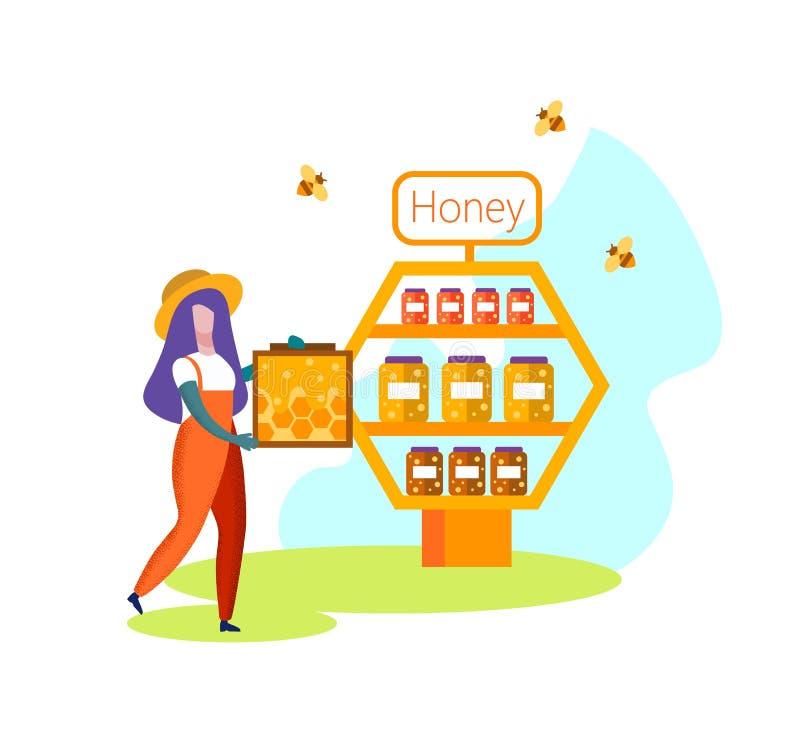 KvinnaBeekeeper Farmer i enhetliga Carry Honeycomb royaltyfri illustrationer