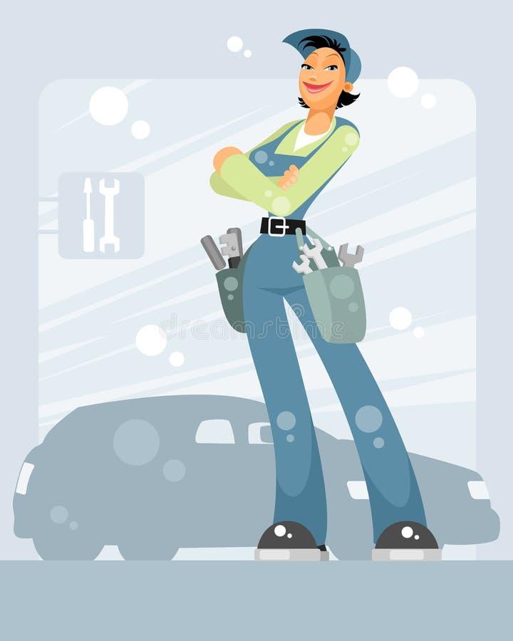 Kvinnabilmekaniker vektor illustrationer