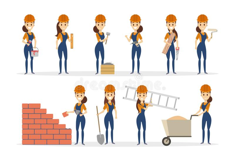 Kvinnabyggmästareuppsättning royaltyfri illustrationer