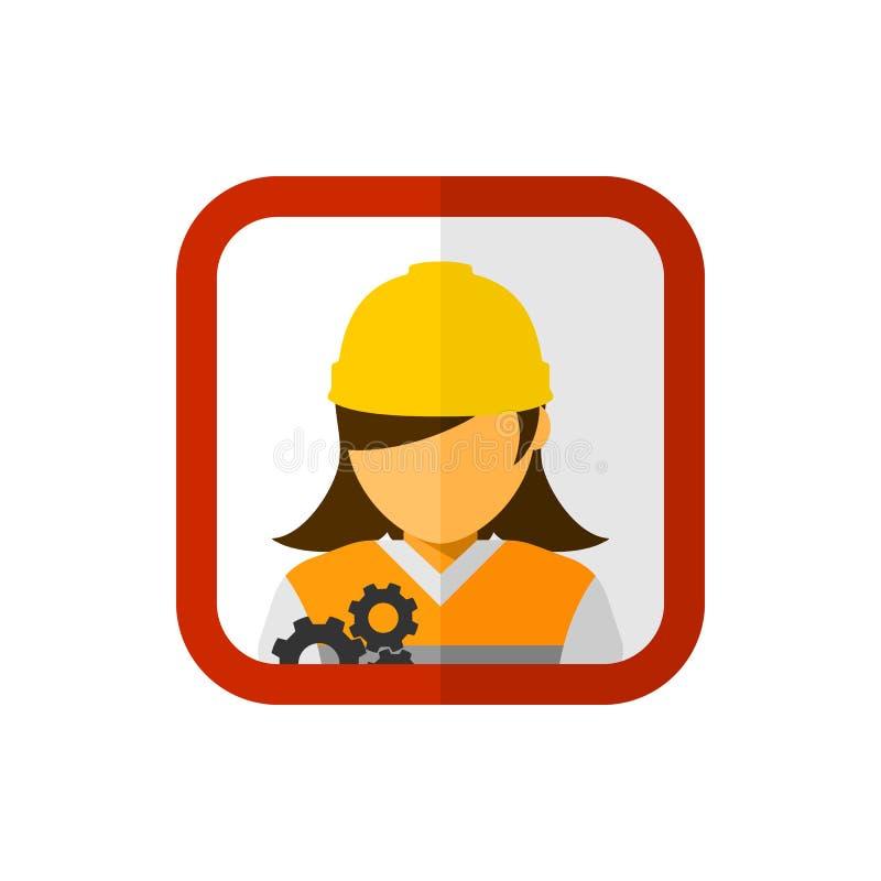 Kvinnabyggnadsarbetare med den fyrkantiga avatarvektorn stock illustrationer