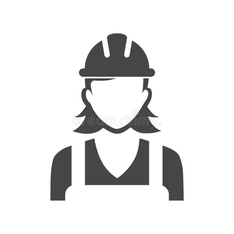 Kvinnabyggnadsarbetaresymbol royaltyfri illustrationer