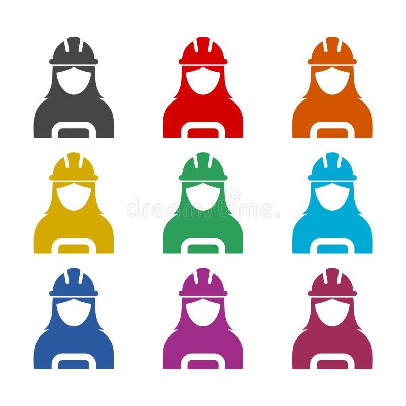 Kvinnabyggnadsarbetaresymbol eller logo, färguppsättning stock illustrationer