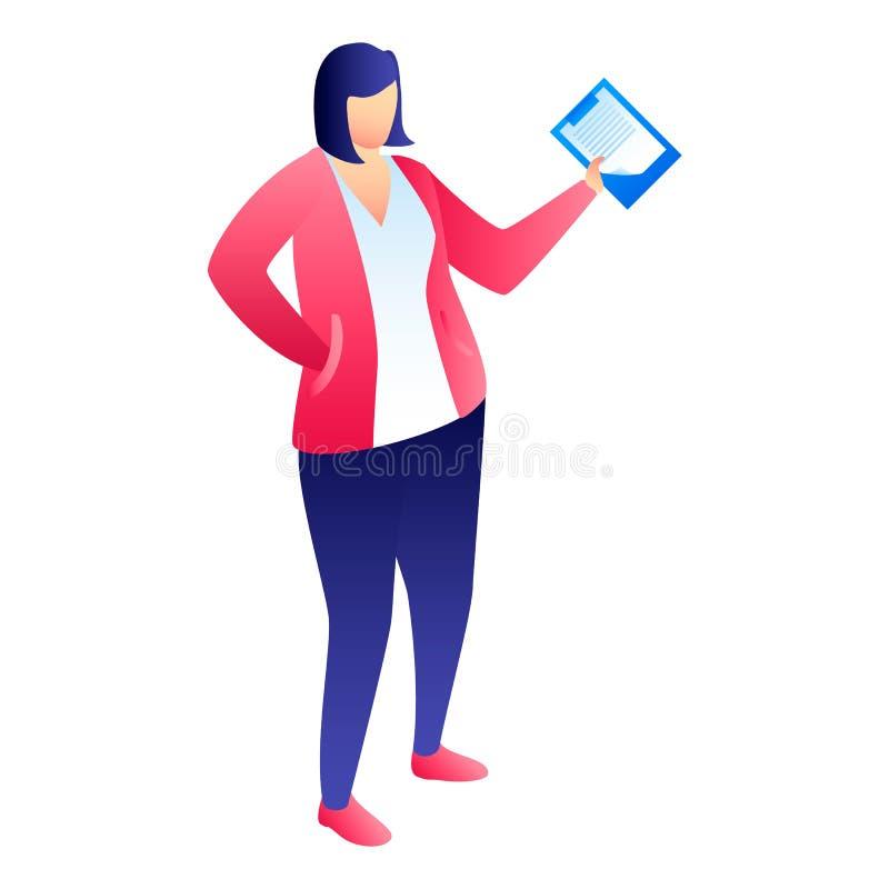 Kvinnachefsymbol, isometrisk stil stock illustrationer