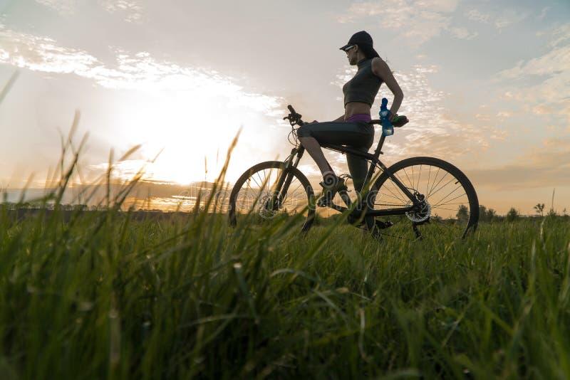 Kvinnacykelsolnedgång ?vning p? solnedg?ngen fotografering för bildbyråer