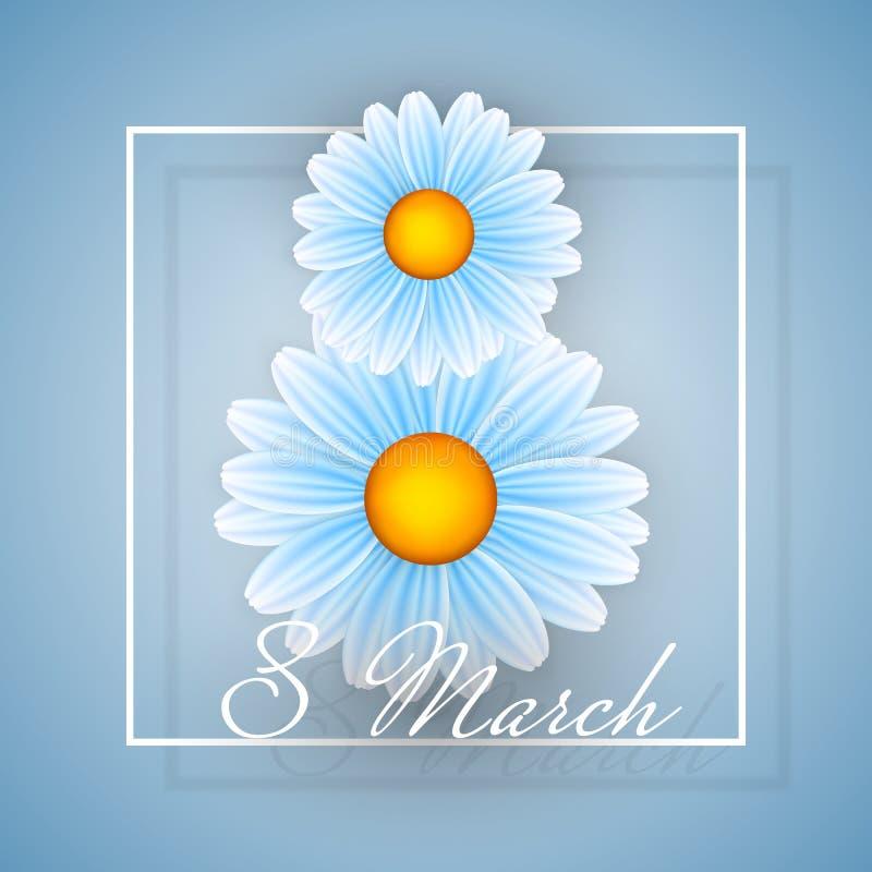 Kvinnadagbakgrund med ramblommor 8 inbjudankort för marsch också vektor för coreldrawillustration royaltyfri illustrationer