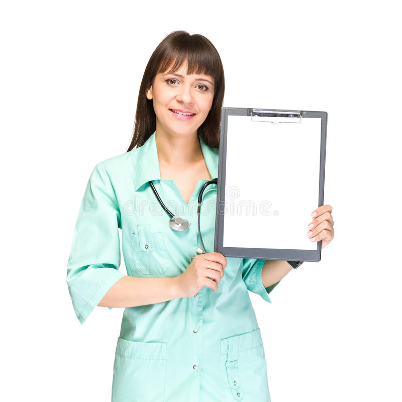 Kvinnadoktor eller sjuksköterska som visar det tomma mellanrumet royaltyfria bilder