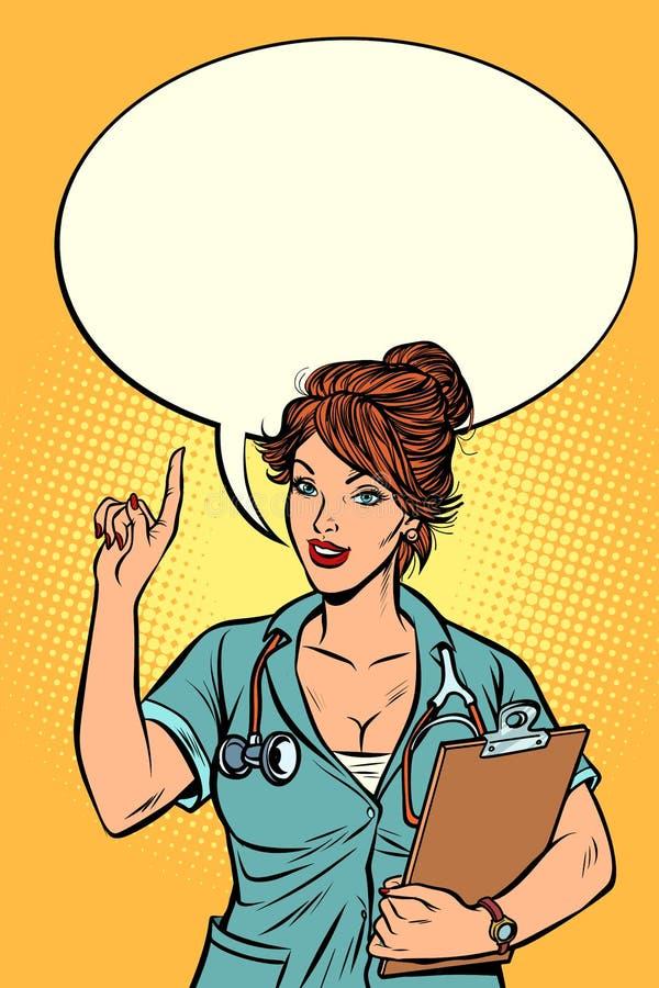 Kvinnadoktor, medicinskt yrke vektor illustrationer