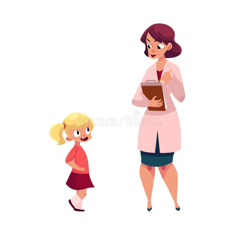 Kvinnadoktor och liten flicka, medicinsk examen vektor illustrationer