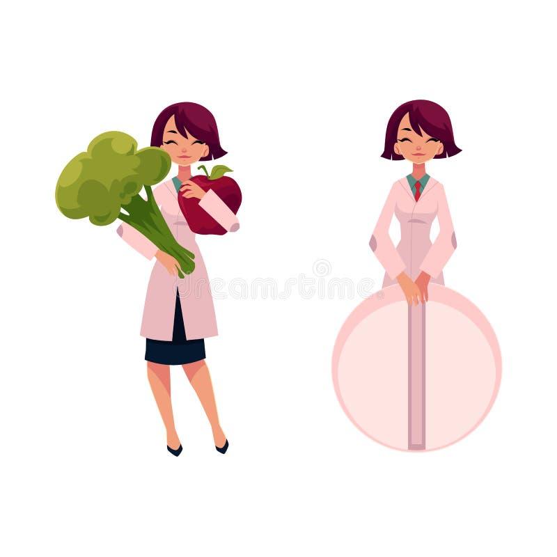 Kvinnadoktor som rymmer enorm broccoli och den jätte- preventivpilleren vektor illustrationer