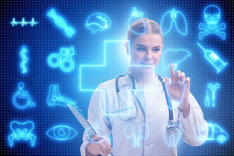 Kvinnadoktorn i futuristiskt begrepp för telemedicine stock illustrationer