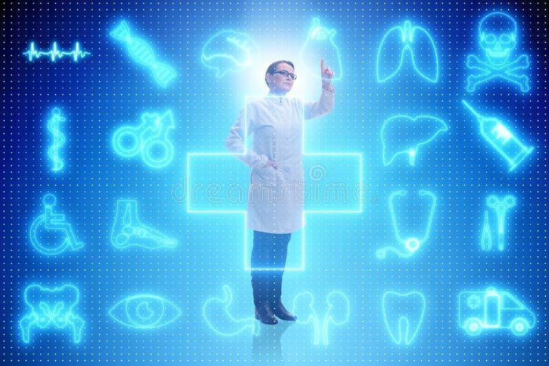 Kvinnadoktorn i futuristiskt begrepp för telemedicine royaltyfri illustrationer