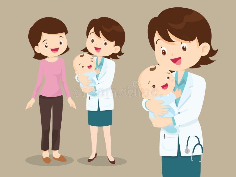 Kvinnadoktorn och behandla som ett barn med mamman stock illustrationer