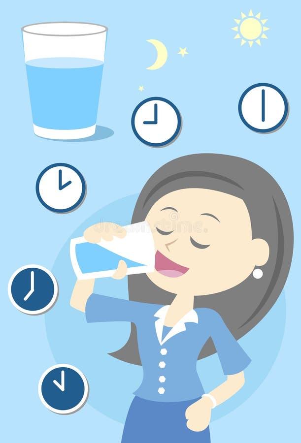 Kvinnadricksvatten hela dagen stock illustrationer