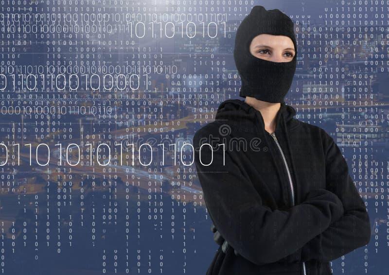 Kvinnaen hacker med huvanseende på framme av blå digital bakgrund stock illustrationer