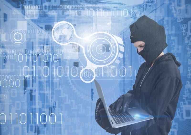Kvinnaen hacker med huven genom att använda en bärbar dator i datorhall royaltyfri illustrationer