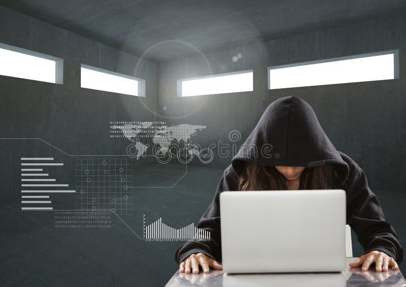Kvinnaen hacker som arbetar på bärbara datorn i ett mörkt rum royaltyfri illustrationer