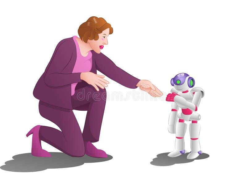 Kvinnaförsök att räcka skakan med en droidrobot på rymdstationrumbakgrund royaltyfri illustrationer