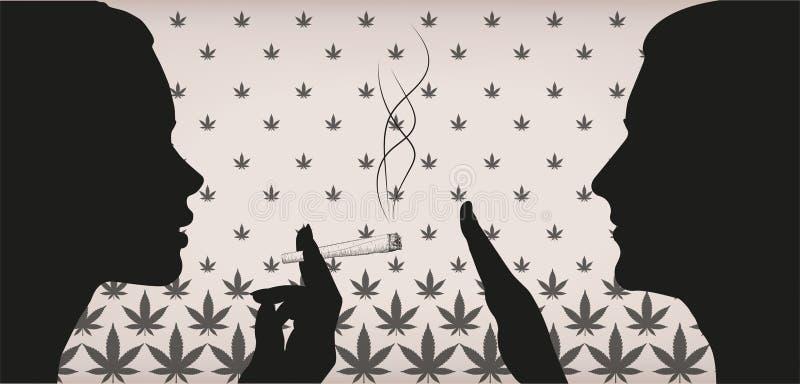 Kvinnaflickadamen som röker marijuana för rökogräscannabis, rullade cig stock illustrationer