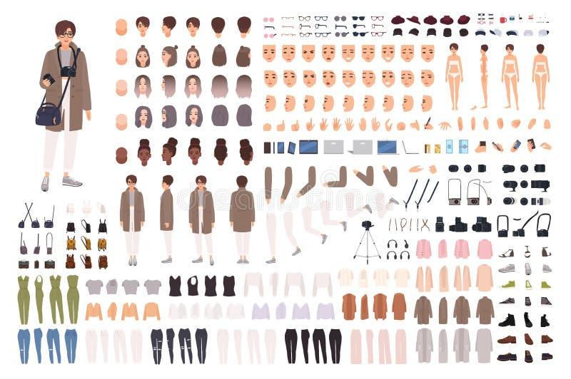 Kvinnafotograf, animeringsats eller skapelseuppsättning Packe av kroppsdelar, kläder, tillbehör, fotokamera kvinnlig royaltyfri illustrationer