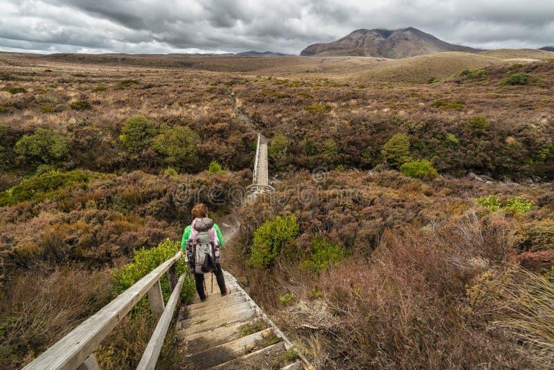 Kvinnafotvandrare med ryggsäcken som klampar på den Tongariro nationalparken royaltyfri fotografi