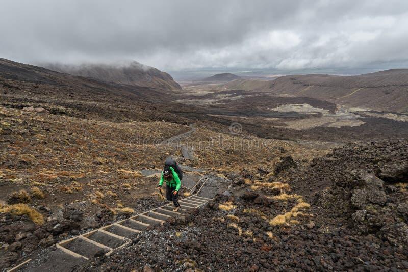 Kvinnafotvandrare med ryggsäcken som klampar på den Tongariro nationalparken arkivfoton