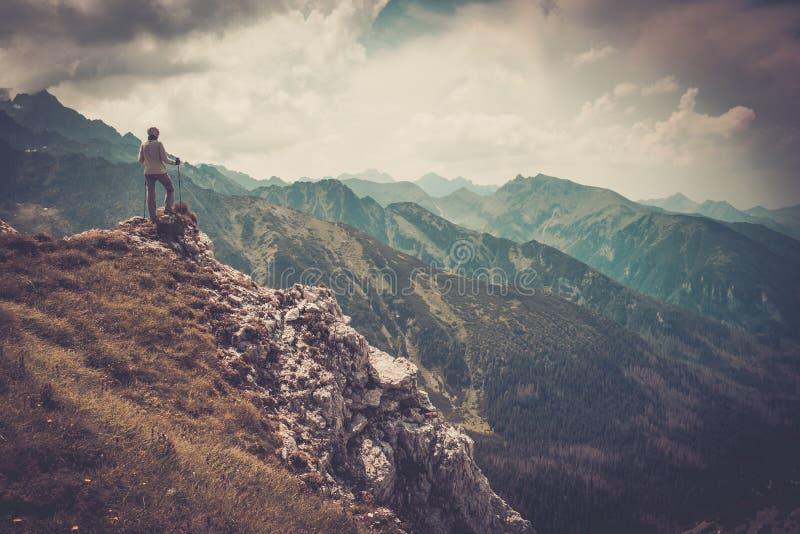 Kvinnafotvandrare på ett berg fotografering för bildbyråer