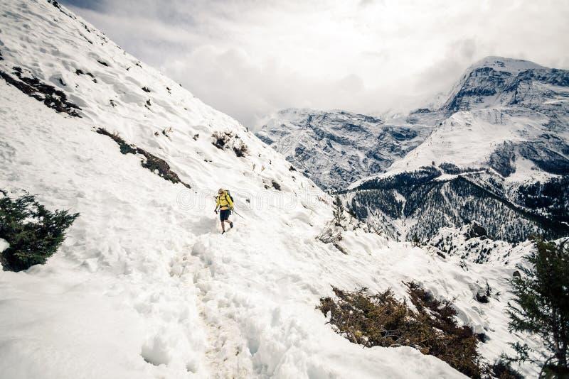 Kvinnafotvandrare som går i Himalaya berg, Nepal arkivbild