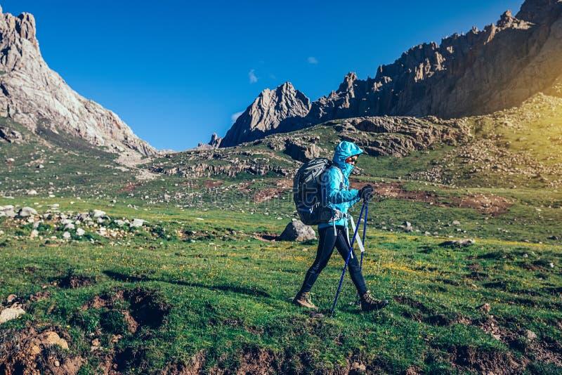 kvinnafotvandrare som går på härliga berg royaltyfri foto
