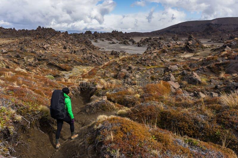 Kvinnafotvandraren som går på efterrättområde mycket av vulkaniskt, vaggar forma royaltyfri foto
