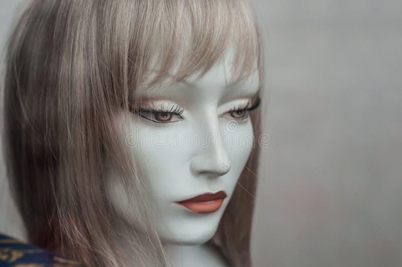 Kvinnaframsida av skyltdockan med peruken i modelagersho royaltyfri foto