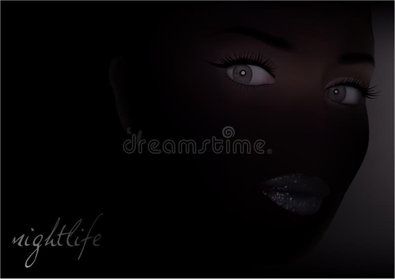 Kvinnaframsida i mörkret royaltyfri illustrationer