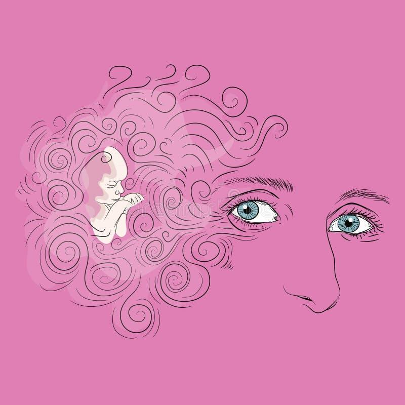 Kvinnaframsida med blåa ögon och lockigt hår Litet behandla som ett barn att sova för flicka Vektorillustration på rosa bakgrund stock illustrationer