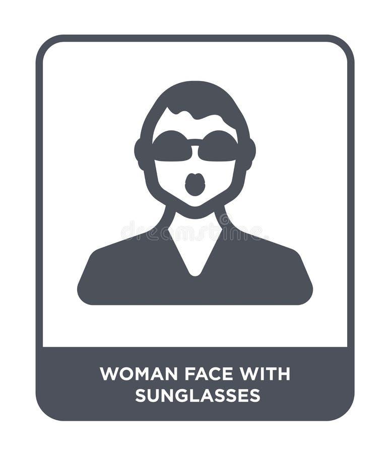 kvinnaframsida med solglasögonsymbolen i moderiktig designstil kvinnaframsida med solglasögonsymbolen som isoleras på vit bakgrun stock illustrationer